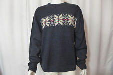 Mens Classic Sweater Crewneck Basic Editions Snowflake Navy Large New