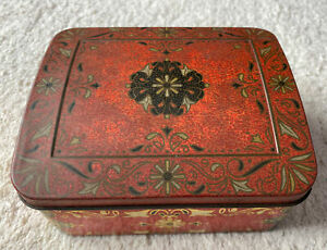 Vintage GEORGE W. HORNER & Co. Ltd. Red Floral Small Sweet Confectionary Tin