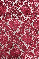 2 2/3 YDS VINTAGE RED & WHITE CUT VELVET 1970 Victorian French Upholstery Fabric