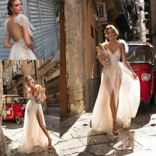 2018 Berta Wedding Dresses A-line Lace Beach Spaghetti Double Split Bridal Dress