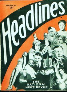 """Rare 1932 (March) """"Headlines"""" magazine w/Babe Ruth et al cover"""