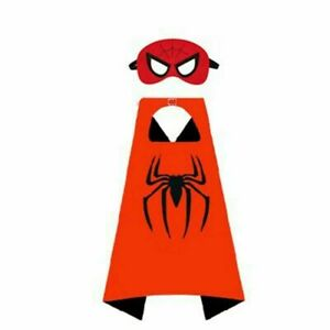 Kids Superhero Cosplay Cape Iron Man Spider Man Costume Cloak+Eye Mask Halloween