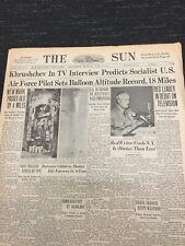 Communist Leader Khrushchev Predicts Socialist U.S. - 1957 Baltimore Newspaper