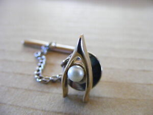 Vintage Gold Tone SWANK  Wishbone Tie Pin with Faux Pearl