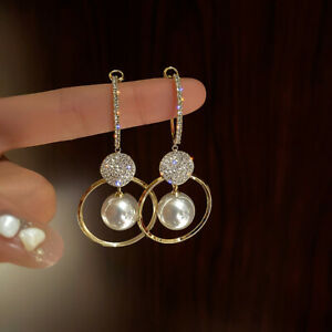 New 925 Silver Gold Crystal Pearl Circles Earrings Hoop Drop Women Jewelry Gifts