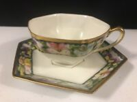 Vintage Hand Painted Nippon Tea Cup and Saucer Green Purple Yellow Gold Trim
