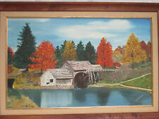 Hand Painted Oil Painting Water Wheel Mill Lake Fall Scenery Framed 19.5 x 28.5""