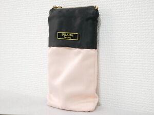 Prada Accessory Case Mini Pouch Nylon Pink Black Authentic #4457P