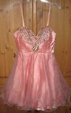 Dave & Johnny Pink Salmon Rhinestone Tulle Skirt Empire Dress 1 2 XS Prom Mini