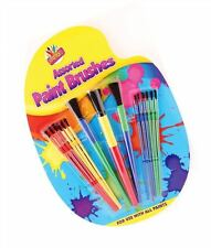 15 Assorted Plastic Paint Brushes Set Painting Kids Art Craft Design Drawing Fun