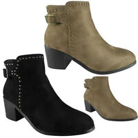 New Womens Ladies Buckle Strap Studs Casual Work Mid Heel Ankle Boots Shoes Size