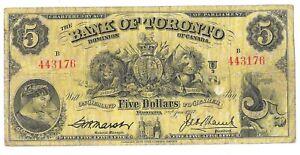 1937 Bank of Toronto 5 Dollar Bill