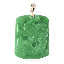 10K Oro Amarillo Verde Jade Phoenix Colgante Joyería Regalo para mujeres CT 51.5
