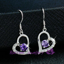 925 Sterling SILVER Amethyst Purple HEART EARRINGS with SWAROVSKI Crystal S1027E