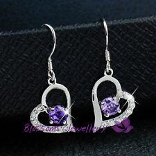 925 Sterling SILVER Amethyst Purple HEART EARRINGS with SWAROVSKI Crystal S1027E