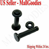 0929 Black Acrylic Single Flare Ear Plugs 10 Gauge 10G 2.5mm MallGoodies 1 Pair