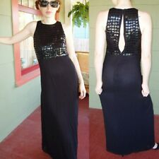 Oasis Formal Gown Dress Long Black Sheer Chiffon Beaded Sequin Designer UK 10 Sm