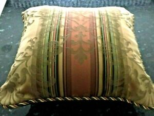 Croscill 17 x 17 Square Accent Bed Pillow    Bronze Gold & Green Damask Stripe