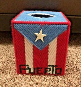 "Handmade Knitted 4.5"" Puerto Rico Tissue Holder, Flag, Sewn Knit"