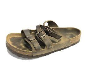 Birkenstock, Florida BS, Brown Leather Slip On Sandals, Size 7M EUR38