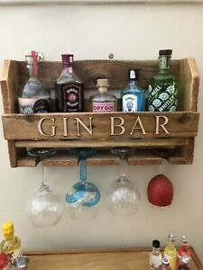Rustic Home Gin Bar Shelf & Glasses Holder