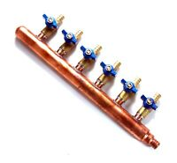 6 port PEX Plumbing Manifold 3/4 Male 1/2 Ball Valve close end barbed end