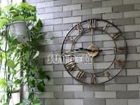 sundely Large Golden Roman Numeral Wall Clock for Home / Garden / Outdoor (47cm)