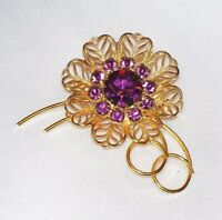 VINTAGE HUGE HIGH END GOLD TONE FILIGREE PURPLE RHINESTONE FLOWER PIN BROOCH