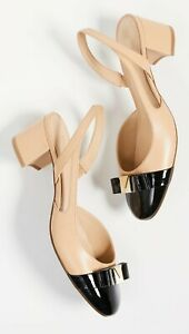 New MICHAEL Kors Caroline Mid slingback Pumps  sz 8M women shoes beige black