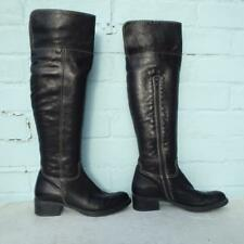 Bertie Black Leather Boots Size Uk 3 Eur 36 Womens Sexy Pull on white stitching