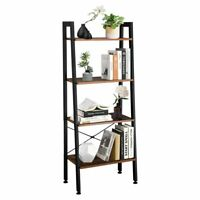 Industrial Ladder Shelf 4 Tier Metal Frame Bookshelf Home Office Storage Rack US