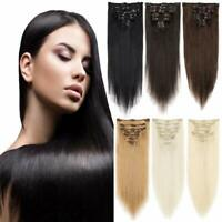 US Natural Remy Clip in Hair Extensions 7 Pieces Full Head Real Human Hair NCK#