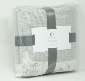Hotel Collection 525 TC 100% Cotton Woven Fringe Throw Blanket - Ash Gray
