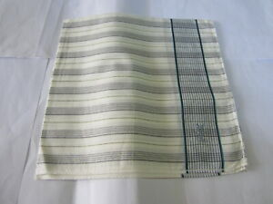 """USED WHITE STRIPED PATTERN COTTON 18"""" HANDKERCHIEF SCARF POCKET SQUARE FOR MEN"""