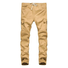 Casual Solid Drawstring Waist Pocket Pants For Men - Khaki