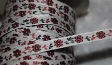 "5 yards white black brown flowers daisy jacquard ribbon trim 3/8"" wide"