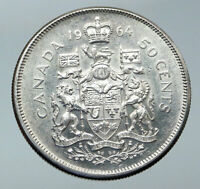 1964 CANADA Queen Elizabeth II Arms Crown VINTAGE SILVER 50 Cents Coin i86082