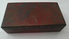 "Vintage Etched Peacock Design Lidded Box, India 6.25""L x 3.5""D x 1.75""H"
