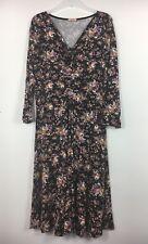 Joe Browns Black Floral Gathered Front Knee Length Dress Size 16 - B33