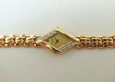 Lassale by Seiko Gold Tone Metal 1F20-2N70 w/ Gemstones Sample Watch NON-WORKING