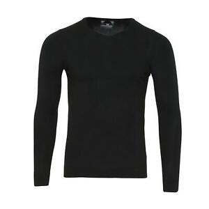 Mens Black Cashmilon V-Neck Sweatshirt Jumper Sweater Pullover Top