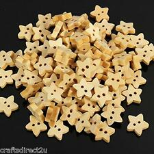 100 Star Wooden Buttons - Scrapbooking - Crafting - Sewing - UK Seller