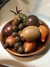 Vtg 11 piece Carved Wooden Fruit bowl Grapes Pears, Peach pineapple Excellent