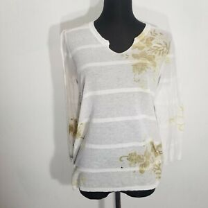 Marika Charles Womens Blouse Top Size 4 Dyed Tunic Knit Cotton Stripe Abstract