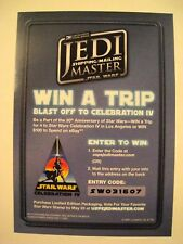 STAR WARS USPS JEDI SHIPPING MASTER CELEBRATION IV ENTRY FORM 2007 (RARE)