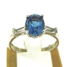 Sterling Silver Blue Quartz & White Cubic Zirconia Retro Ring Sz 9