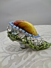 Antique Miniature Unsigned German Elfin Ware Floral Shoe Pin Cushion