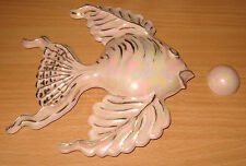 Vintage Pink Opalescent & Gold Bathroom Fish & Bubble Wall Art Plaque 6 x 6