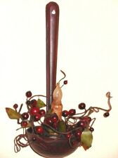 Country Red with black antiquing Laddle/Spoon taper Holder with candle & berries