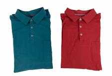Lot of 2 Tommy Banhama Mens Islandzone Long Sleeve Polo Shirts Blue Red Size L